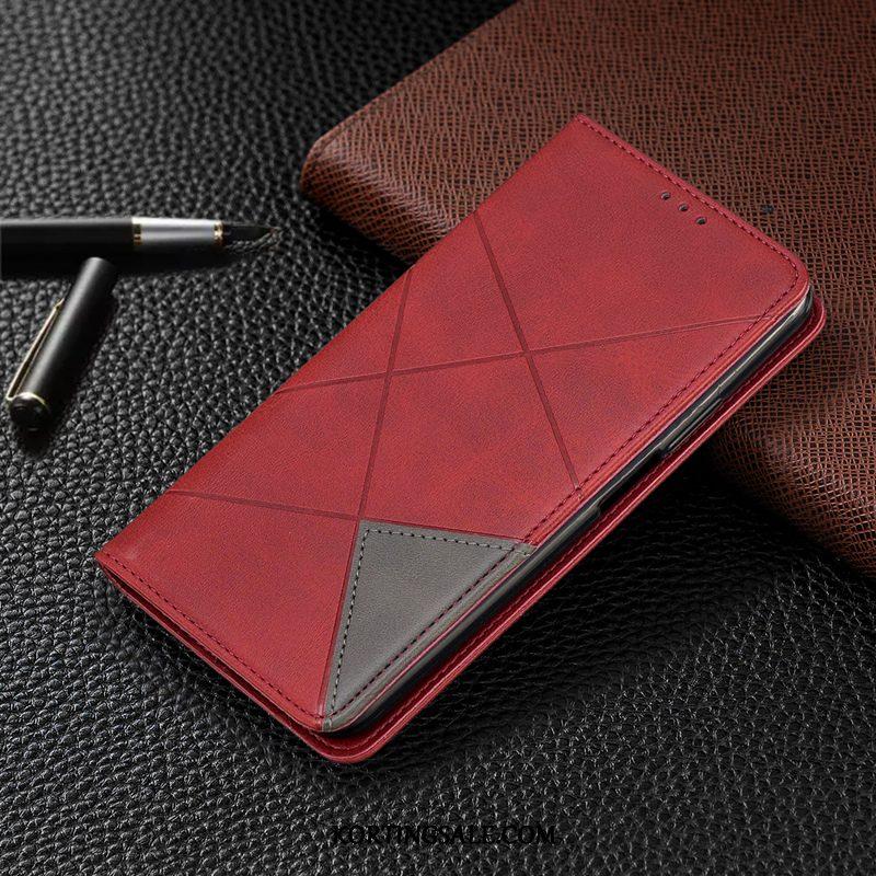 Samsung Galaxy S20 Hoesje Leren Etui Mobiele Telefoon Rood Ster Folio