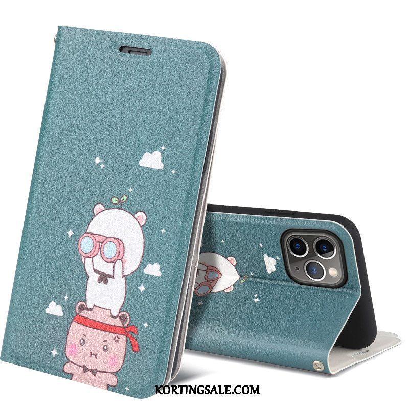 iPhone 12 Pro Hoesje Blauw Leren Etui Mobiele Telefoon Spotprent All Inclusive