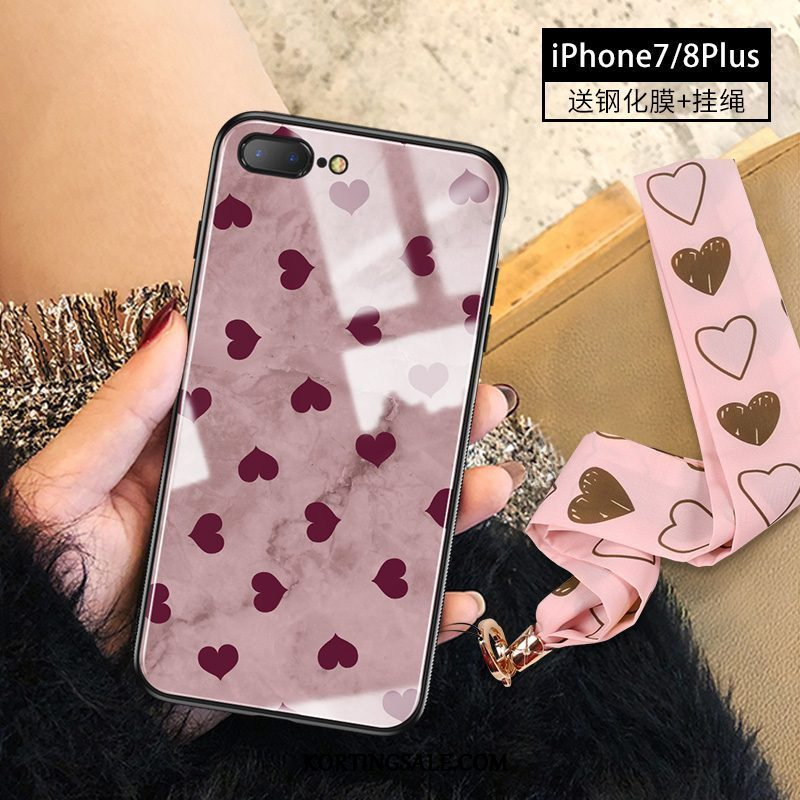 iPhone 8 Plus Hoesje Mobiele Telefoon Mode Glas Roze Trendy Merk