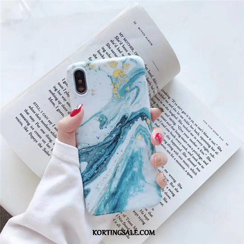 iPhone Xs Max Hoesje Eenvoudige Europa Blauw Olieverfschilderij Kunst