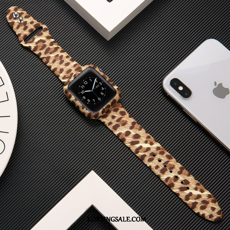 Apple Watch Series 2 Hoesje Bedrukken Luipaard Trendy Merk Khaki Siliconen