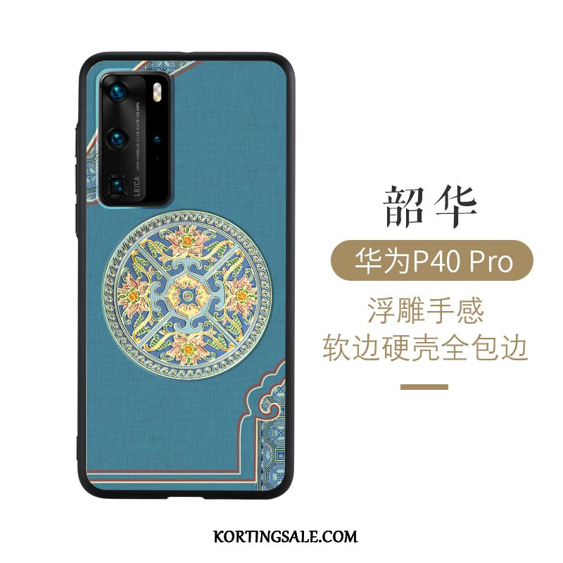 Huawei P40 Pro Hoesje Reliëf Anti-fall Persoonlijk Chinese Stijl Hoes