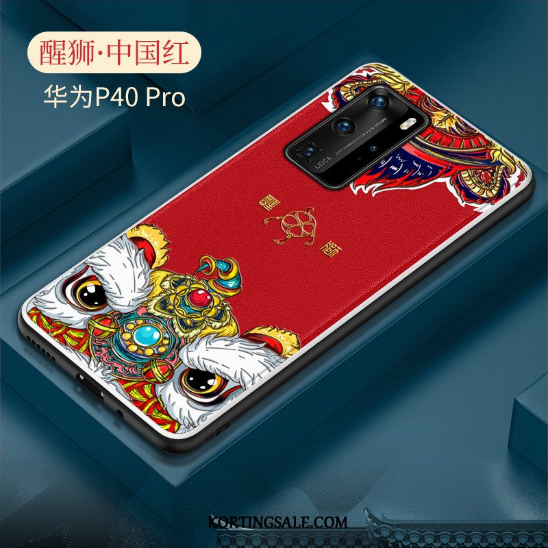 Huawei P40 Pro Hoesje Trend Chinese Stijl Siliconen Hoes Mobiele Telefoon