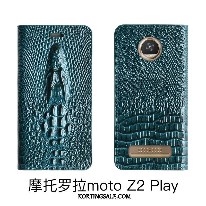 Moto Z2 Play Hoesje Echt Leer Hoes Folio Blauw High End