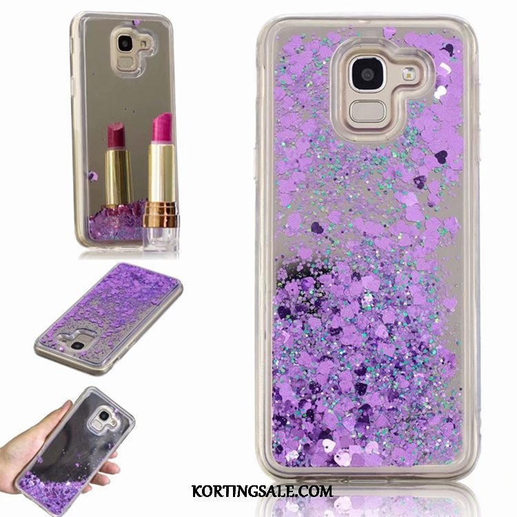 Samsung Galaxy J6 Hoesje Met Strass Anti-fall Ster Drijfzand Purper