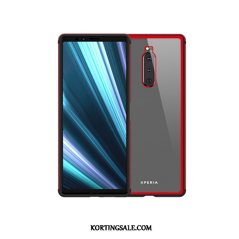 Sony Xperia 1 Hoesje Hoes Bescherming All Inclusive Glas Rood