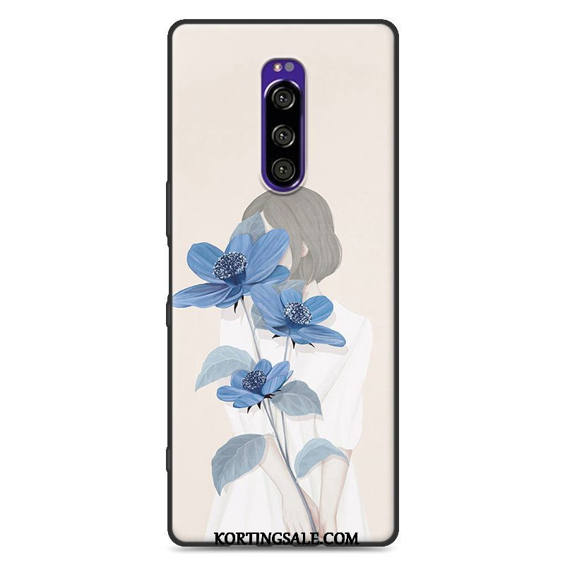 Sony Xperia 1 Hoesje Hoes Blauw All Inclusive Anti-fall Geschilderd