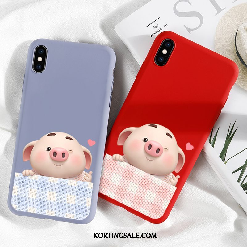 iPhone Xs Max Hoesje All Inclusive Bescherming Siliconen Rood Net Red